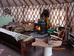 wood stove in yurt (coyurtco) Tags: green yurt sustainable yurts enviornmentallyfriendly simplelifestyle coloradoyurt