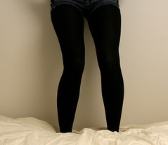 I'll take care of you oh (jessenialynel) Tags: white black wall bed legs fluffy tights jeans shorts