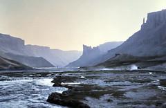 gm_03128 Band-e Amir Canyon Morning, Afghanistan 1975 (CanadaGood) Tags: afghanistan analog mountain lake 1975 slidefilm bandeamir bandiamir afghan kodachrome bamiyan dawn morning traffic slidecube colour color geology asia canadagood best favourite seventies shore