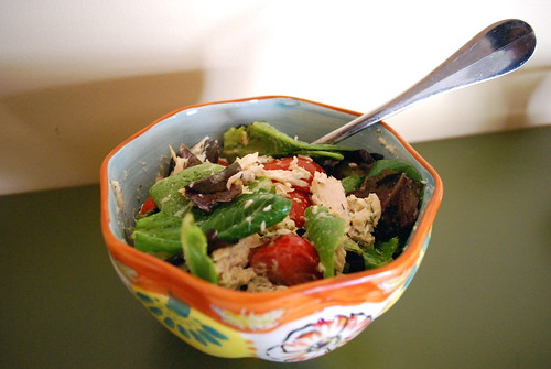 Baby Romaine Lettuces and Tomatoes with Tuna and Dill