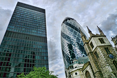 Urban contrasts (Nick J Stone) Tags: london cbd swissre aviva centralbusinessdistrict leadenhall squaremile lumixlx3 standrewsundershaft potentials44 ©nickstone