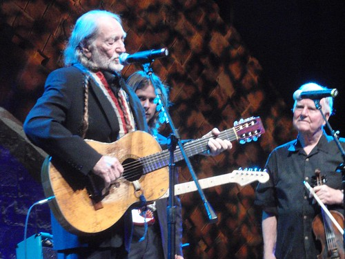 wille and johnny gimble on stage