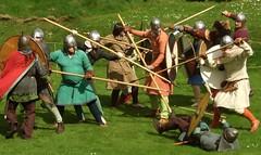Beltaine Fayre, St Andrews (stuant63) Tags: castle fight helmet battle warrior shield standrews combat viking reenactment chainmail spear spearman anglosaxon warband stuant63 stuartanthony shireofcaercaledon decs020509 beltainefayre