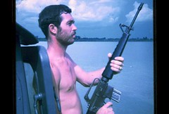 Mekong River, Vietnam, 1970 (spysgrandson) Tags: river rifle navy vietnam seal weapon 1970 1970s mekong m16