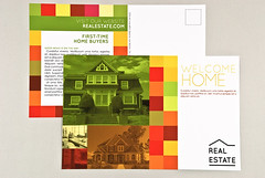 Graphic Real Estate Agent Postcard (inkdphotos) Tags: red orange brown house green home yellow warm estate realestate apartment mail postcard property condo agency buy land agent rent manager client purchase own condominium realtor finance broker mortgage mailing sanserif manage