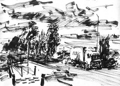 Sunset, crepuscule sur la zone de Val de Seine (leonardi.manuel) Tags: city urban blackandwhite france art illustration pencil ink painting landscape sketch drawing sketchbook location dessin villes encre sketchers croquis banlieues leonardi
