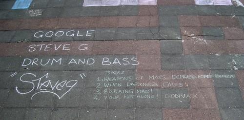 Chalk Based Discussion Forum on Brighton Beach - Advertising