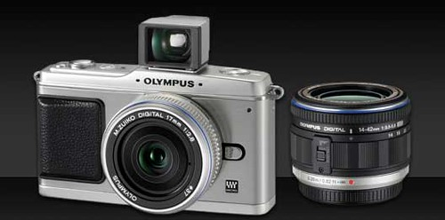 The Olympus E-P1 with attached viewfinder and 17mm beside the 14-42mm zoom