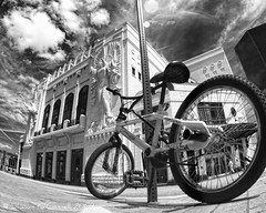 Prime Parking (Shawn O'Connell Photography) Tags: blackandwhite bw bike ir nikon texas parking d70s fisheye infrared fortworth basshall bassperformancehall