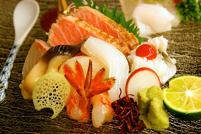 Close-up of the sashimi main portion