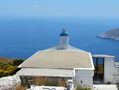 A cemetary in Kochylou, Andros (n.pantazis) Tags: blue sea sky church view cross cemetary andros vantagepoint aegeansea korthi kochylou
