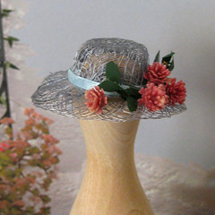 Dollhouse 1/12 Scale Blue Hat With Pink Flowers (Golden Unicorn Miniatures) Tags: flowers floral hat miniatures miniature doll dolls florals dollhouse dollshouse onetwelfthscale goldenunicornminis goldenunicornminiatures