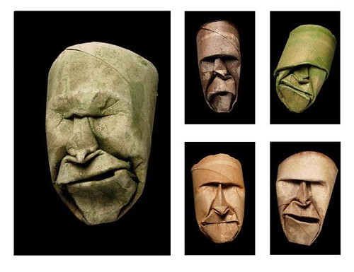 Face Sculptures from Toilet Paper Rolls