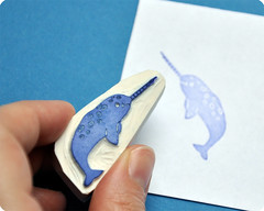 Little narwhal hand carved rubber stamp
