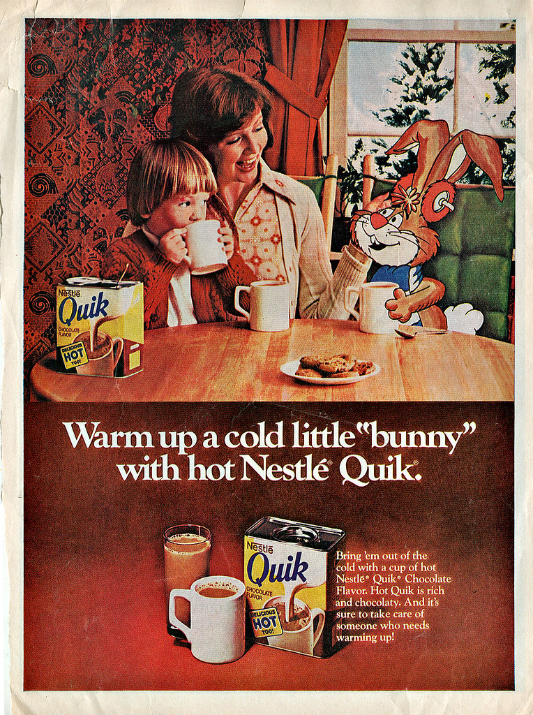 """Nestlé's Quik - ' Warm up a cold little """"bunny"""".. .. '  (( 1973 - 1974 ?! ))"""