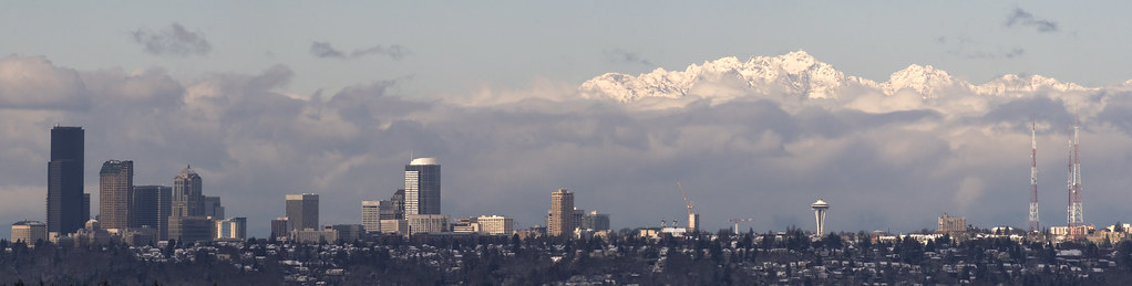 Downtown seattle and the Olympic mountains