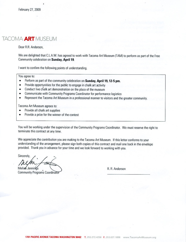 Tacoma Art Museum Letter of Agreement