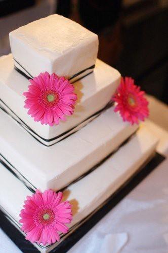 daisy cakes. black gerbera daisy cake