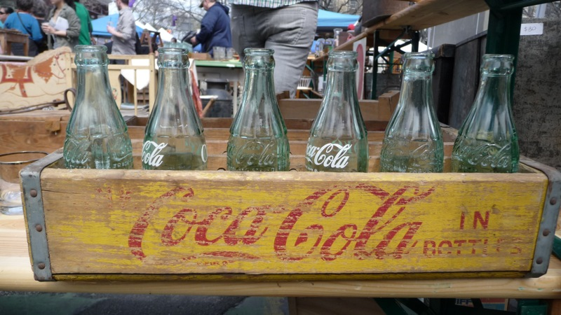 Vintage coke bottles & case