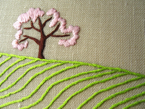 APPLE TREE IN THE FIELDS - SPRING hand embroidered original wall art