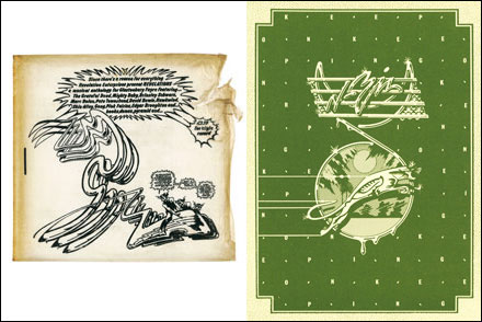 Left: Clear vinyl envelope. Right: Booklet cover. The Glastonbury Fayre, Revelation, 1972. (C) Jeff Dexter.