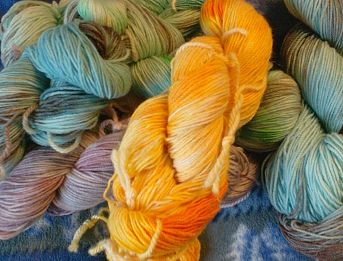 Hand dyed cashmere merino sock yarn by Joyuna on Etsy
