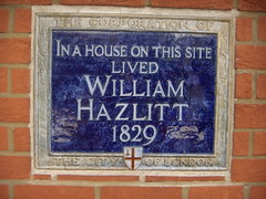 Photo of William Hazlitt blue plaque