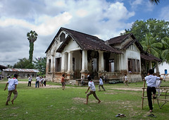 Old colonial school in Done Kone island - Laos