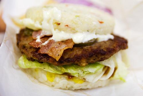 bulgogi burger with rice patties