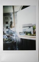 (hazel.jane) Tags: sunlight house selfportrait window girl polaroid open instant fujifilm daytime through em pyjamas instax