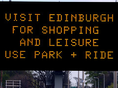 Park & Ride Sign (Little Boffin (PeterEdin)) Tags: road street light signs sign yellow shopping lumix traffic display notice junction led electronics silicon information circuit trafficsigns parkandride notices a8 diode anode cathode semiconductors electrons lightemittingdiode displayboards parkride panasoniclumix trafficinformation dmctz3 tz3 panasonictz3 panasonicdmctz3