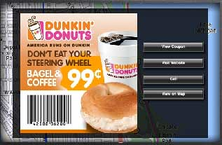 Dunkin Donuts delivers a location-based ad via NAVTEQ.