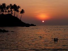 Sunset, Goa, India (suzanne Hallam) Tags: trees sunset sea sun india silhouette goa palm palolem romanticcouple palmtreessea