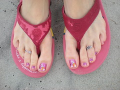 Beach Feet (martha.harmon) Tags: feet beach foot myrtlebeach sand shoes toes flipflops nailpolish lifeisgood toering toerings