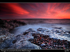 Five go on a sunset shoot to Bwlch Gwyn! (opobs) Tags: sunset summer sky beach water june southwales wales evening seaside sand rocks wideangle pebbles explore canon5d frontpage 2009 1000 ogmore valeofglamorgan bridgend ogmorebysea bwlchgwyn 1740mml wetknees opobs cokinxpro michaeljstokesawpf craigyreos