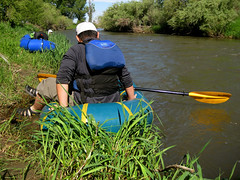 Takashi loads into an Alpacka Raft (Wisner Crossing, Montana, United States) Photo