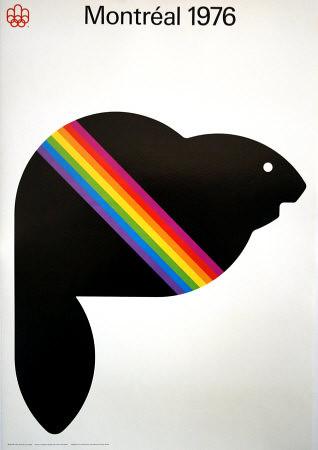 Montreal 1976 Olympics poster - rainbow beaver
