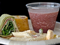Lunch Provided by Andaluca, Fruit Smoothie by Pulp (gapey) Tags: seattle food lunch photography workshop pulp wraps rainierbrewery andaluca loumanna foodsnap kerenbrownmedia