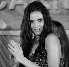 Exotic (MyXP) Tags: portrait blackandwhite woman night hair bellydancer steamy highiso darkskin canon60d tamron18270