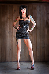 Dee_Dee_Dollface_34008 (ScottRKline) Tags: wood tattoo pumps longlegs littleblackdress lipsred panellingred