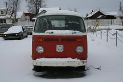Red Bay Window VW Bus with snow on the roof in Wasilla, Alaska - Front View