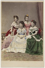 The Carandini ladies, one of Australia's first opera performing families, ca. 1875 / photographer Charles Hewitt (attributed) (State Library of New South Wales collection) Tags: opera carandini theatrical handcoloredphotographs women cabinetphotograph charleshewitt dresses colorful old fashion hair flowers photography colorized vintage fabric statelibraryofnewsouthwales commons:event=commonground2009 selectivecolor operaacrossthecommons damas damasantiguas fotoantigua fotospintadas vestidos vestidosantiguos