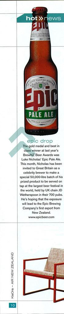 Epic Pale Ale in Kia Ora - Air New Zealand in-flight magazine - March 2009