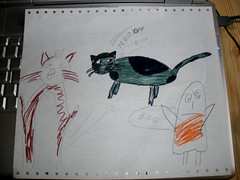 H's cat drawing, now with colours