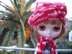knit Beret and crochet scarf