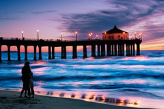 Watching the Sunset at the Pier (szeke) Tags: ocean california sunset love water landscape pier losangeles couple pacific wave manhattanbeach littlestories picswithsoul qualitypixels