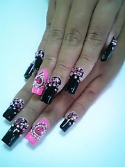 PinkBlack (Pinky Anela) Tags: pink black heart nail nails nailart japanesenails