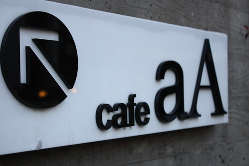 aA Design Cafe sign