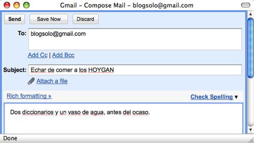 Captura de pantalla enviándome un mensaje a mi mismo en Gmail