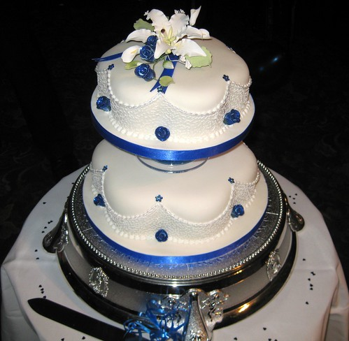 wedding cake blue Elegant Purple and White Wedding Cake by gracefull333